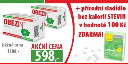 OBEZIN přináší mimořádnou nabídku pro čtenáře Super! měsíční hubnoucí kůra za cenu 598 Kč + přírodní sladidlo bez kalorií STEVIN® v hodnotě 100 Kč zdarma !