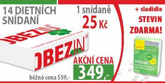 OBEZIN® snídaně na 14 dní za 349 Kč a navíc zdarma přírodní sladidlo bez kalorií STEVIN® v hodnotě 100 Kč!