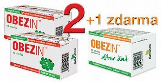 OBEZIN přináší mimořádnou nabídku pro čtenáře Super! 2 balení OBEZIN + 1 balení OBEZIN AFTER DIET zdarma za cenu 680 Kč!