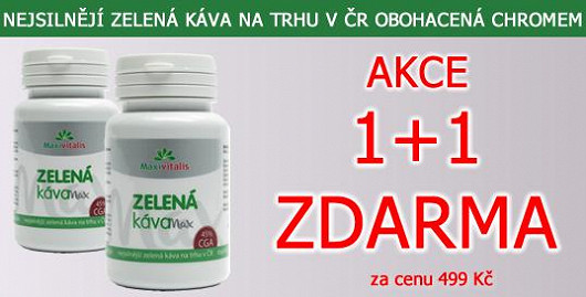 500 mg extraktu zelené kávy v každé tobolce. Nejsilnější zelená káva na trhu v ČR + chrom. Akce 1+1 ks ZDARMA. Jen na Super.cz