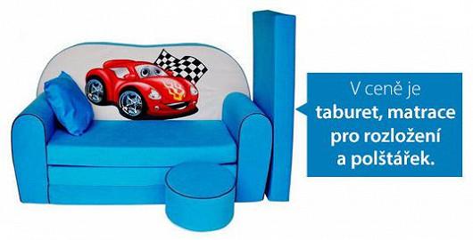 Modrý gauč pro malého pilota závoďáku. Vybavte pokoj pohodlným kokpitem na paření her i relax