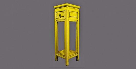 Žlutý stojan na květiny z jilmového dřeva prozáří každý interiér