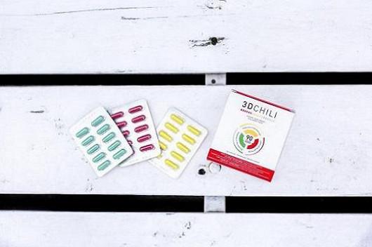 První částí systému 3D Chili je tabletka s deseti 100% přírodními a zeštíhlujícími složkami