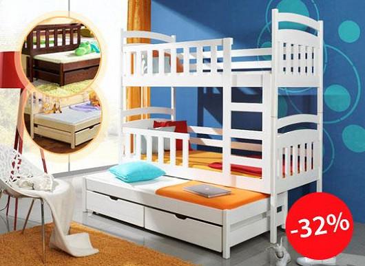 Bezpečné spaní pro 3 děti i jejich hračky. Ušetřete spoustu peněz a prostoru
