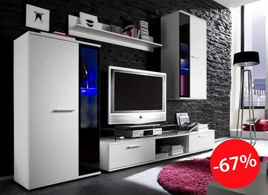 Umí váš nábytek svítit? A modře? Obývací stěna za třetinu ceny toho umí ještě víc