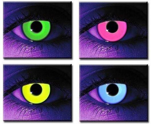 Svítící kontaktní čočky crazy glow v akci