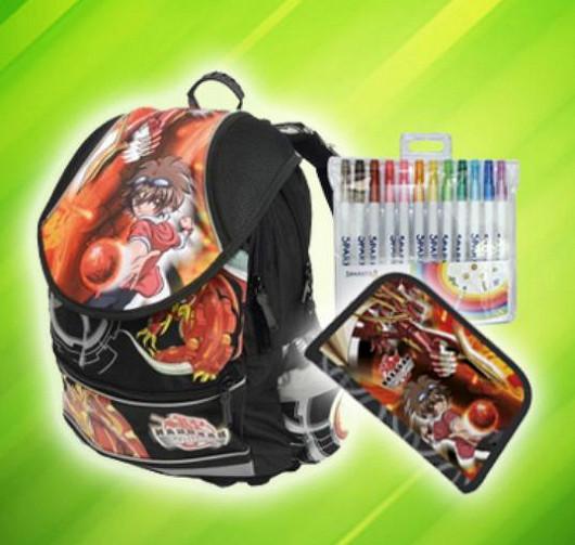 Anatomický školní batoh Bakugan + penál a kreslící sada ZDARMA