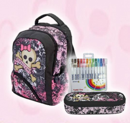 Školní batoh anatomický Soft Pink Cookie + pouzdro a kreslící sada ZDARMA