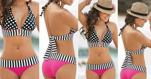 Dvoudílné dámské plavky s puntíky a proužky jen za 359 Kč vč. poštovného!
