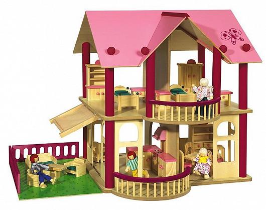 Dřevěný domeček pro panenky s nábytkem a čtyřmi panenkami (Eichhorn)