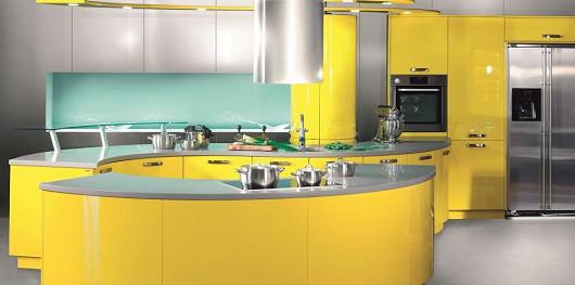 Řada HANÁK PREMIUM, kuchyně GALAXIE, provedení žloutkově žlutá, 7vrstvý lak z obou stran včetně hran, vysoký lesk