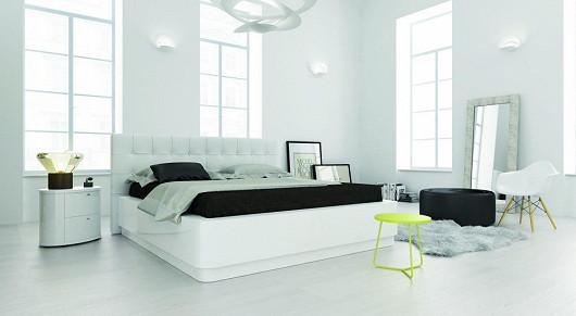 Ložnice LAURA, bílý lak, vysoký lesk, čalouněná bílou kůží