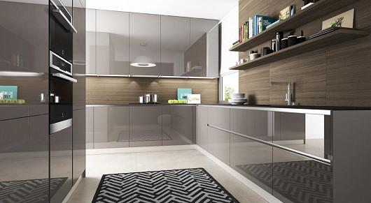 Kuchyňská sestava ELITE v provedení LAK MOCCA – VYSOKÝ LESK / OŘECH DRSNÝ