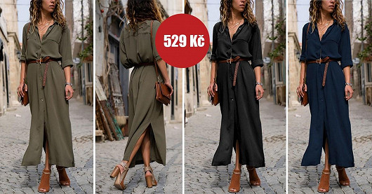 Dámské dlouhé košilové šaty Tenris – SLEVA -50 %