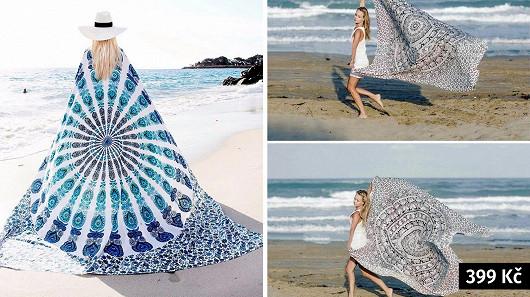 Univerzální bohémský šátek s motivem mandaly