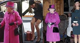 Vévodkyně Kate málem neukočírovala sukni před královnou.