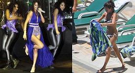 Selena Gomez sexy na koncertě a u bazénu.