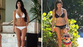 Kourtney Kardashian v roce 2008 a nyní po třech dětech.