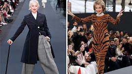 Helen Mirren (72) a Jane Fonda (79) předváděly v Paříži kousky z kolekce L´Oreal.