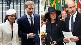 Na bohoslužbu přišli Harry s Meghan i William s Kate.