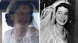 Reálná královna nevěsta (vpravo) a ta seriálová...