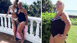 Tereza Kerndlová s maminkou, které se podařilo zhubnout. Vpravo před proměnou