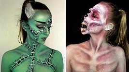 Laura Wirth vytváří masky sama na sobě...