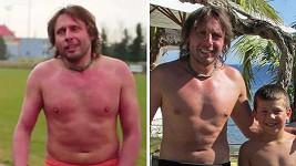 Jan Tuna před začátkem tréninku (vlevo) a dnes