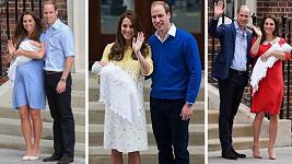Kate a William s novorozenými dětmi v roce 2013 (George), 2015 (Charlotte) a 2018