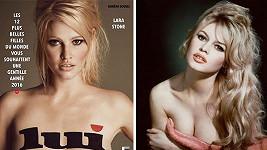 Lara Stone a o padesát let starší Brigitte Bardot v době největší slávy.