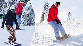 Agáta Prachařová s manželem brázdí svahy na snowboardu.