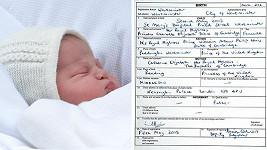 Údaje o narození princezny Charlotte