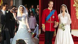 Svatební šaty Kate Middletonové a italské herečky Isabelly Orsini zaujaly svou nápadnou podobností.