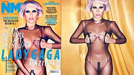 Lady Gaga na obálce hudebního časopisu NME (vlevo) a na snímku uvnitř vydání.