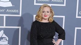 Černé šaty s odlesky Giorgo Armani Adele opticky zužovaly postavu. Dojem hvězdnosti dotváří nejen perfektní make-up s rudou výraznou rudou rtěnkou, ale i šperky v podobě prstenu Harry Winston a naušnic De Beers.