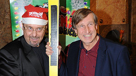 Pavel Pásek alias Džoržino a Vašek Vydra (Pepan Novák) na premiéře Vánočního Kameňáku