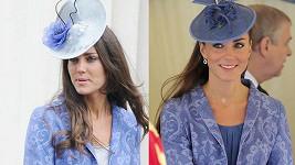 Kate před dvěma lety (vlevo) a nyní: stále stejný kabát.