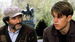 Robin Williams s Mattem Damonem v dramatu Dobrý Will Hunting.