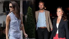 Pippa Middleton vlevo vychází z taškou Vicomte Arthur, vpravo je pak ve společnosti majitelé této známé módní značky.