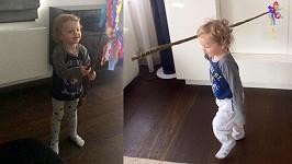 Řepky a Erbové dvouletý synek Markus byl z pomlázky u vytržení.
