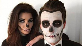 Leoš Mareš s Monikou Koblížkovou na Halloweenu