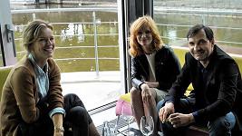 Eva Herzigová s Aňou Geislerovou a Jiřím Macháčkem