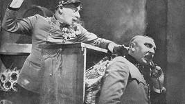 Vlasta Burian a Čeněk Šlégl (vpravo) během natáčení filmu C. a k. polní maršálek
