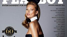 Kate Moss zdobí titulku výročního vydání Playboye.