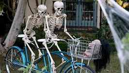 Kostry si na kole v košíku vezou lidskou hlavu.