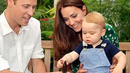 Princ George s rodiči na výstavě motýlů.