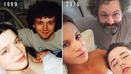 Retro: Po sedmnácti letech si herecký pár a jejich dcera udělali totožnou fotografii...
