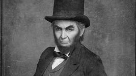 Výsledné foto Reginy Rázlové v roli Abrahama Lincolna.