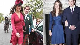 Až na barvu měla téměř stejné šaty na sobě Kate během zásnub s Williamem.