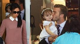 David Beckham se věnoval své dcerce a Victoria se tvářila kysele.